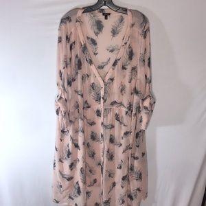 TORRID Plus Size 4X Sheer Light Pink Feather Dress